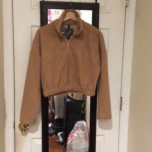 Half Zip Plain Faux Fur Sweatshirt